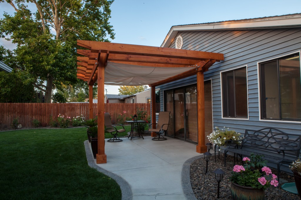 Custom pergola with built in sail cloth shade 8 000 for Shade cloth san diego